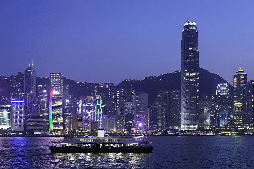Star Ferry in Victoria Harbour at dusk, Hong Kong Island, Hong Kong, China, Asia - 800-3440