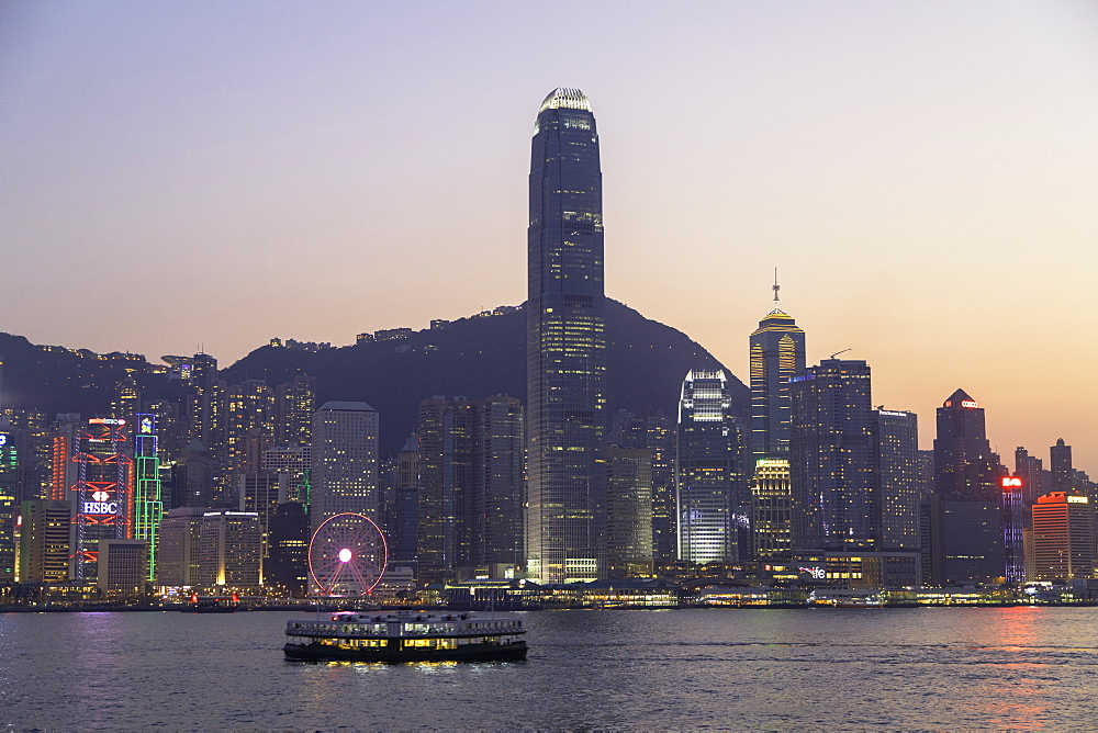 Star Ferry in Victoria Harbour at dusk, Hong Kong Island, Hong Kong, China, Asia - 800-3444