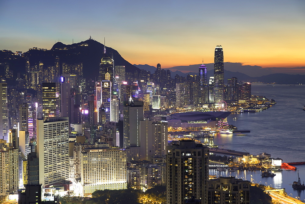 Skyline of Hong Kong Island at sunset, Hong Kong - 800-3543