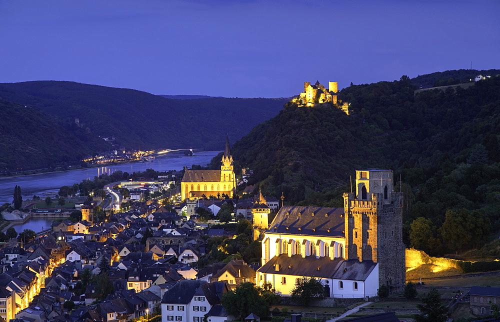 Oberwesel at dusk, Rhineland-Palatinate, Germany, Europe - 800-3563