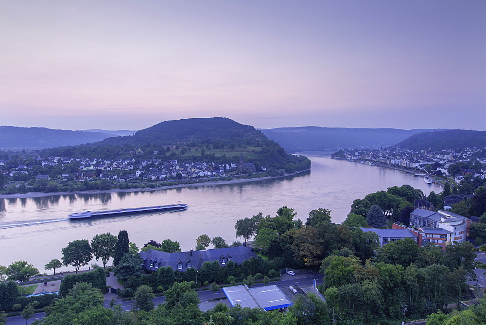 River Rhine at dawn, Boppard, Rhineland-Palatinate, Germany, Europe