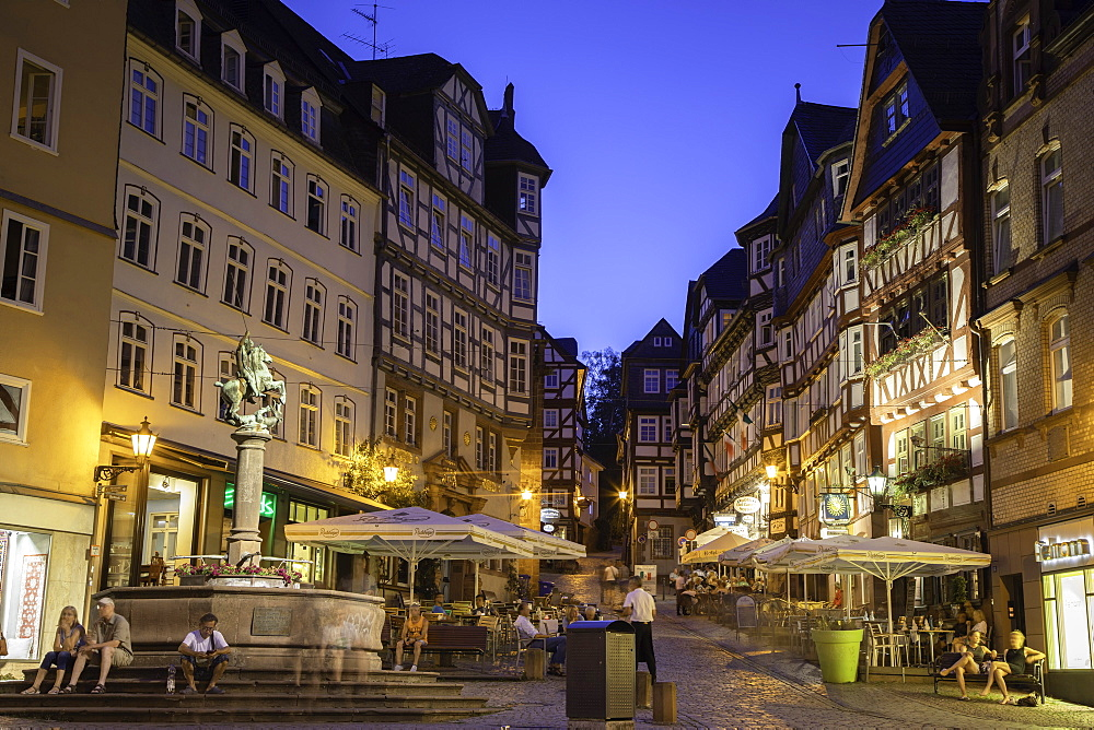 Market Square (Markt) at dusk, Marburg, Hesse, Germany - 800-3575
