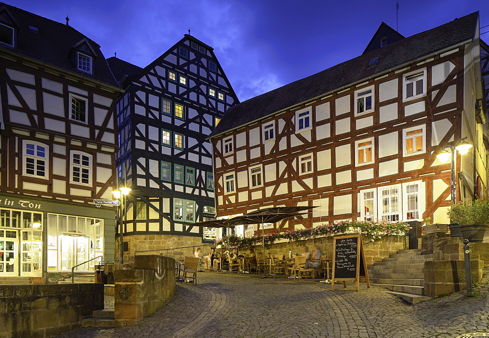 Half-timbered buildings at dusk, Marburg, Hesse, Germany, Europe