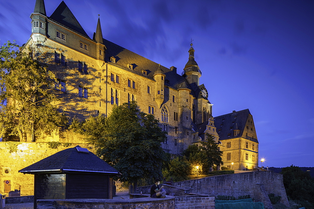 Landgrafenschloss at dusk, Marburg, Hesse, Germany - 800-3578