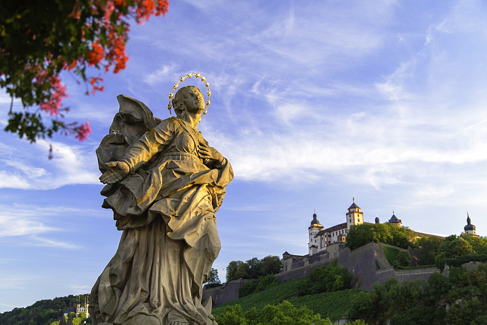 Statue on Old Main Bridge, Wurzburg, Bavaria, Germany - 800-3579