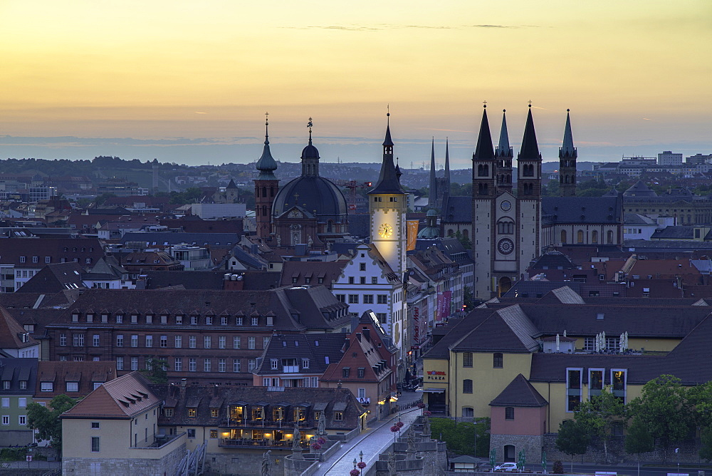 View over Wurzburg at dawn, Bavaria, Germany - 800-3583