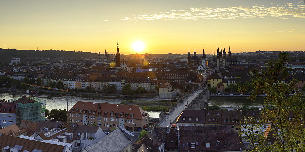 View over Wurzburg at sunrise, Wurzburg, Bavaria, Germany - 800-3586