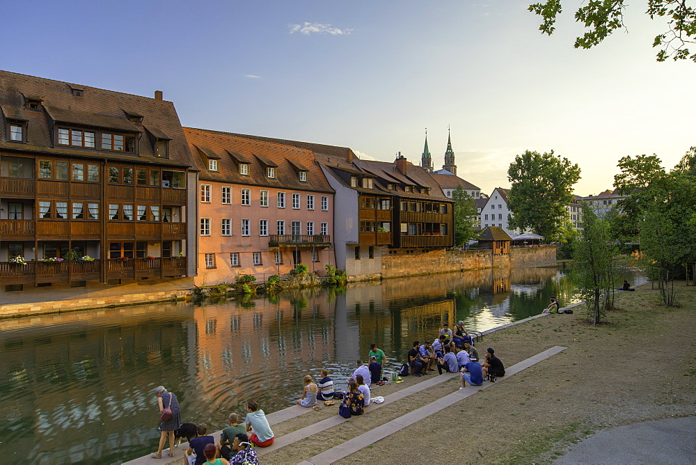 Housing along River Pegnitz, Nuremberg, Bavaria, Germany, Europe - 800-3592
