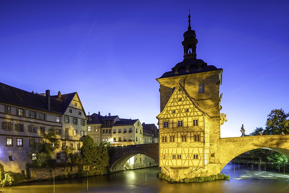 Altes Rathaus (Old Town Hall) at dusk, Bamberg, UNESCO World Heritage Site, Bavaria, Germany, Europe