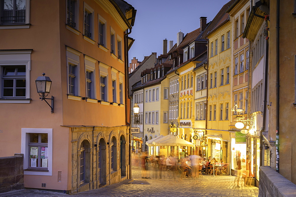 Restaurants at dusk, Bamberg (UNESCO World Heritage Site), Bavaria, Germany - 800-3601