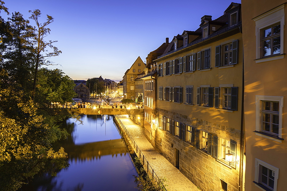 Buildings along River Regnitz at dusk, Bamberg (UNESCO World Heritage Site), Bavaria, Germany - 800-3605