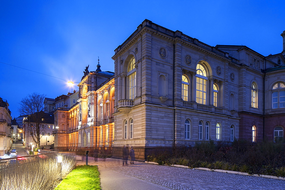 Friedrichsbad (Fredericks bathhouse) at dusk, Baden-Baden, Baden-Wurttemberg, Germany, Europe - 800-3693
