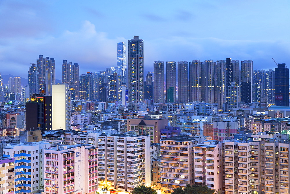 Skyline of Kowloon at dusk, Shek Kip Mei, Hong Kong, China, Asia