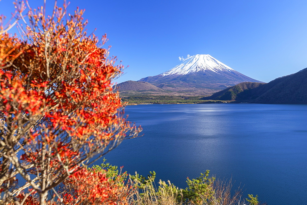 Mount Fuji, UNESCO World Heritage Site, and Lake Motosu, Yamanashi Prefecture, Honshu, Japan, Asia