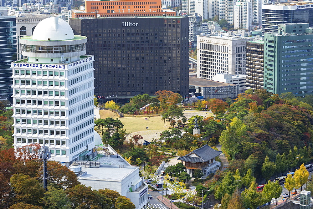 Namsan Baekbeom Park and skyscrapers, Seoul, South Korea, Asia