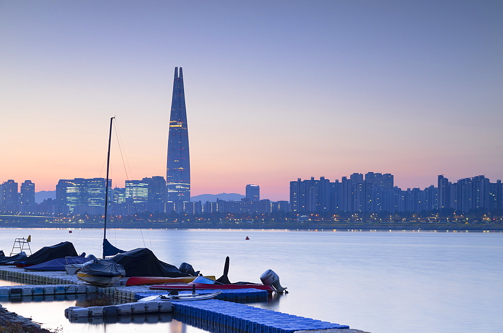 Lotte World Tower and Nam River at dawn, Seoul, South Korea, Asia - 800-3885