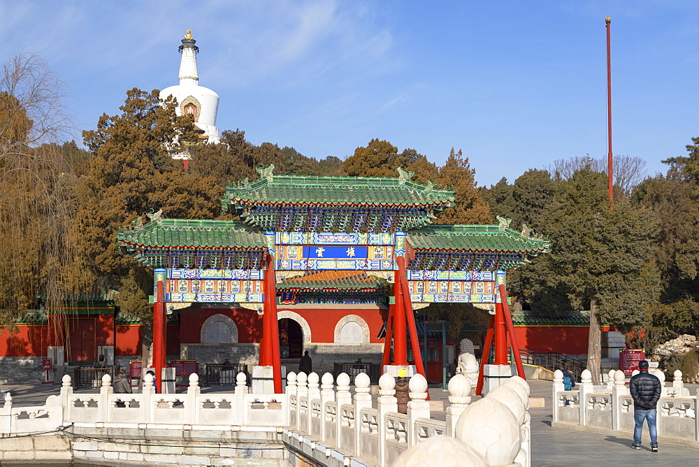 White Dagoba in Beihai Park, Beijing, China, Asia - 800-3909