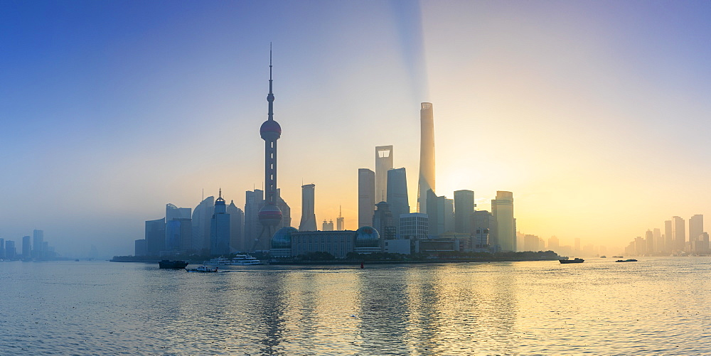 Skyline of Pudong at sunrise, Shanghai, China, Asia - 800-3934