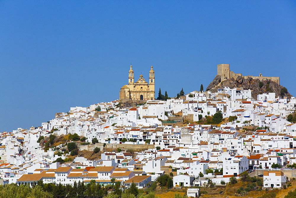 Nuestra Senora de la Encarnacion Church on the left and Arab Castle on the right, Olvera, Andalucia, Spain, Europe