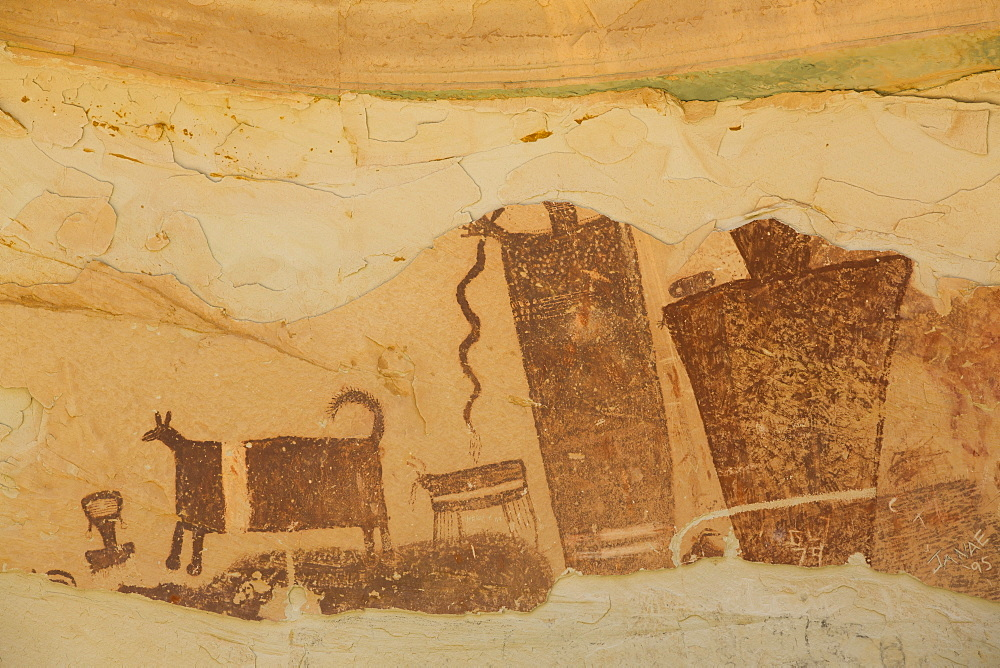 Temple Mountain Wash Pictograph Panel, near Goblin State Park, Utah, United States of America, North America - 801-2059