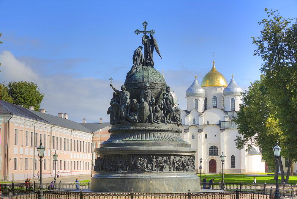 Millennium Monument,1862, Kremlin, UNESCO World Heritage Site, Veliky Novgorod, Novgorod Oblast, Russia, Europe