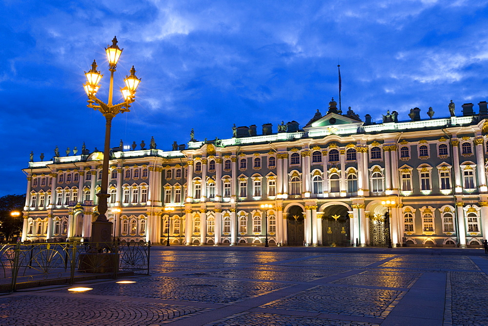 Evening view of State Hermitage Museum (Winter Palace), UNESCO World Heritage Site, St. Petersburg, Russia, Europe