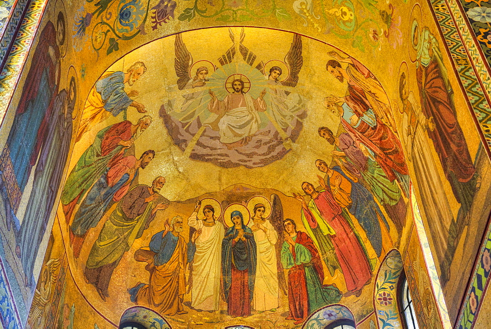 Ceiling frescos, Church on Spilled Blood (Resurrection Church of Our Saviour), UNESCO World Heritage Site, St. Petersburg, Russia, Europe