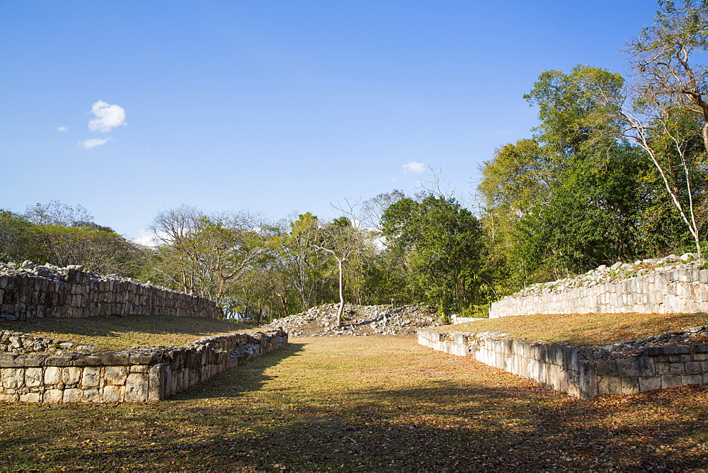 Mayan Ruins, Ball Court, Chacmultun Archaeological Zone, Chacmultan, Yucatan, Mexico, North America