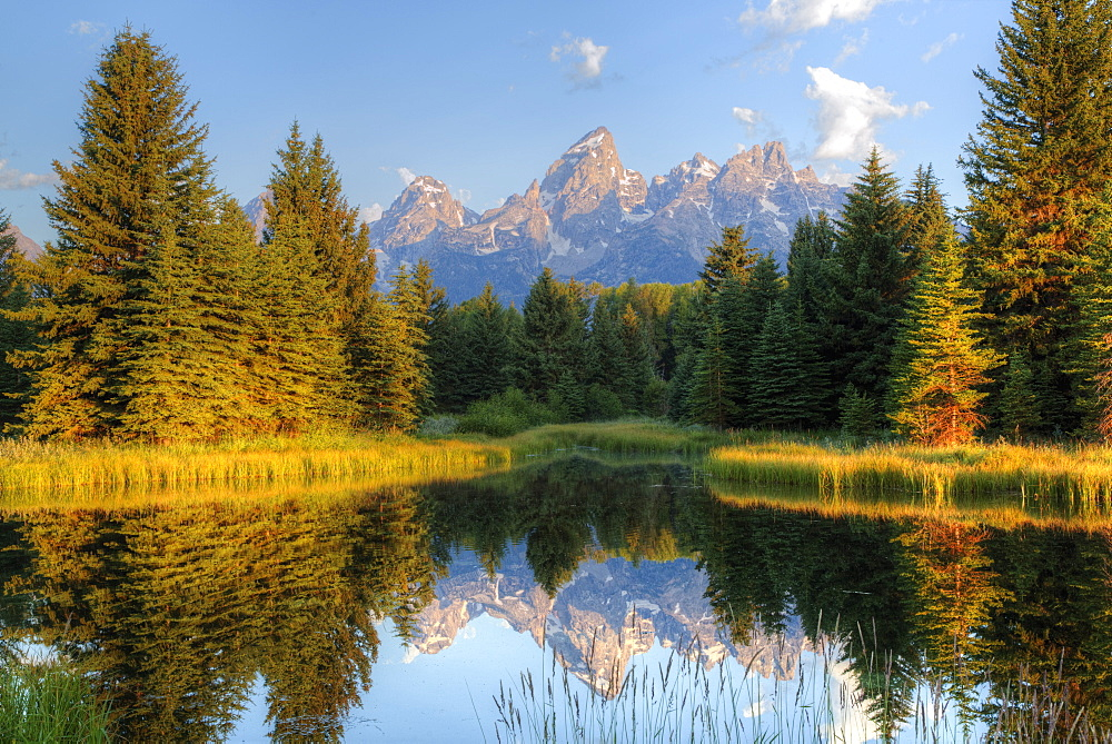 Early morning, Teton Range from Schwabache Landing, Grand Teton National Park, Wyoming, United States of America, North America - 801-2413