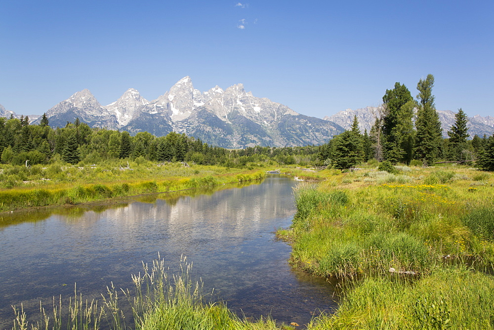 Teton Range from Schwabache Landing, Grand Teton National Park, Wyoming, United States of America, North America - 801-2414