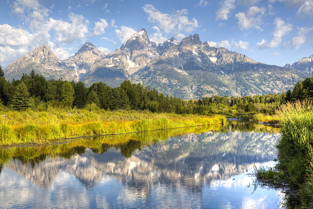 Teton Range from Schwabache Landing, Grand Teton National Park, Wyoming, United States of America, North America - 801-2415