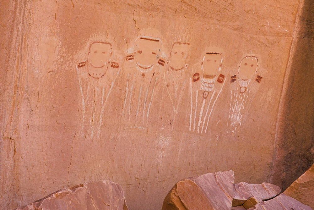 Five Faces Pictograph, Canyonlands National Park, Utah, United States of America, North America - 801-2425