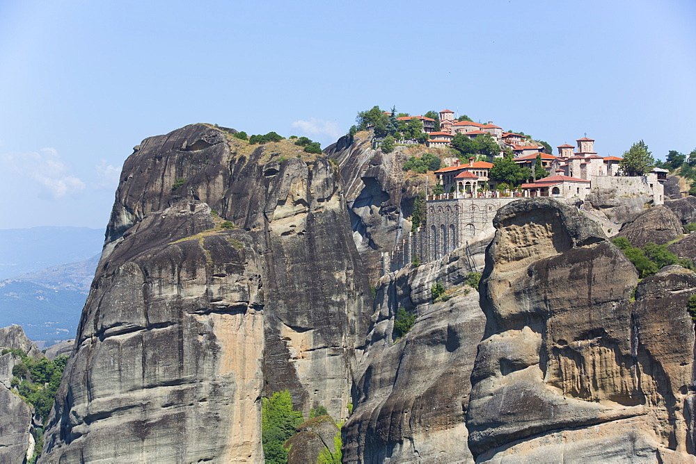 Holy Monastery of Varlaam in the foreground, Meteora, UNESCO World Heritage Site, Thessaly, Greece, Europe
