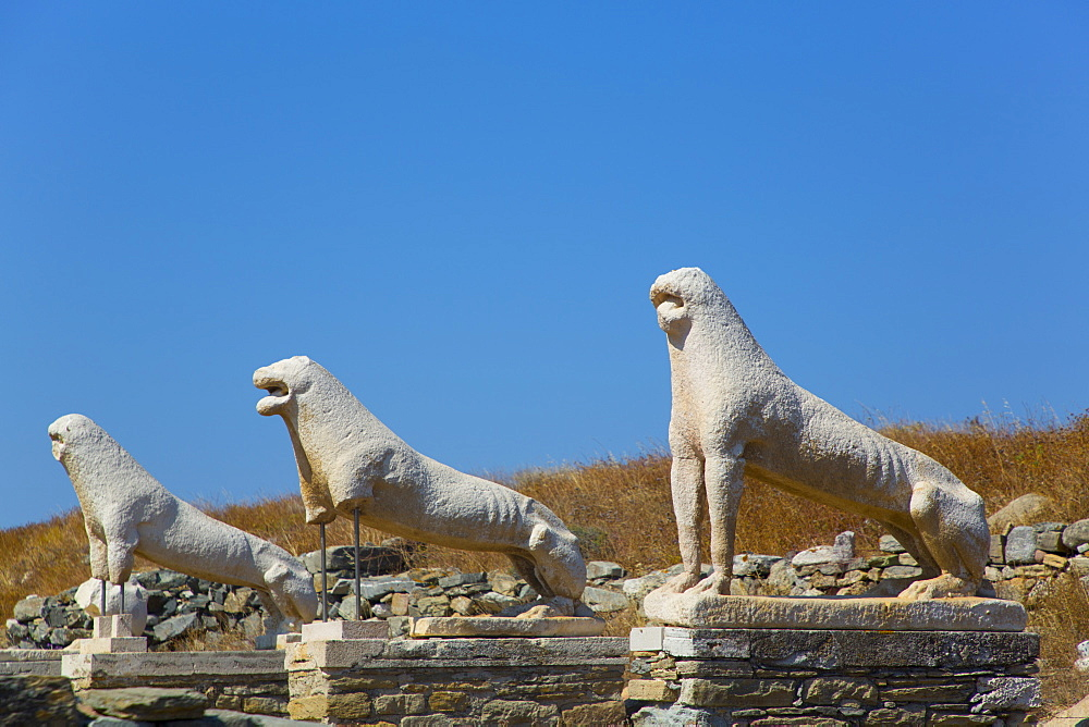 Naxian Lions, Delos Island, UNESCO World Heritage Site, Cyclades Group, Greek Islands, Greece, Europe