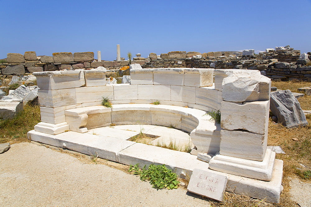 The Exedra near the Sacred Way, Delos Island, UNESCO World Heritage Site, Cyclades Group, Greek Islands, Greece, Europe