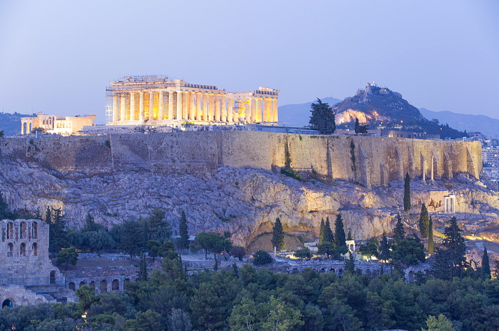 Evening, Parthenon, Acropolis, UNESCO World Heritage Site, Athens, Greece, Europe