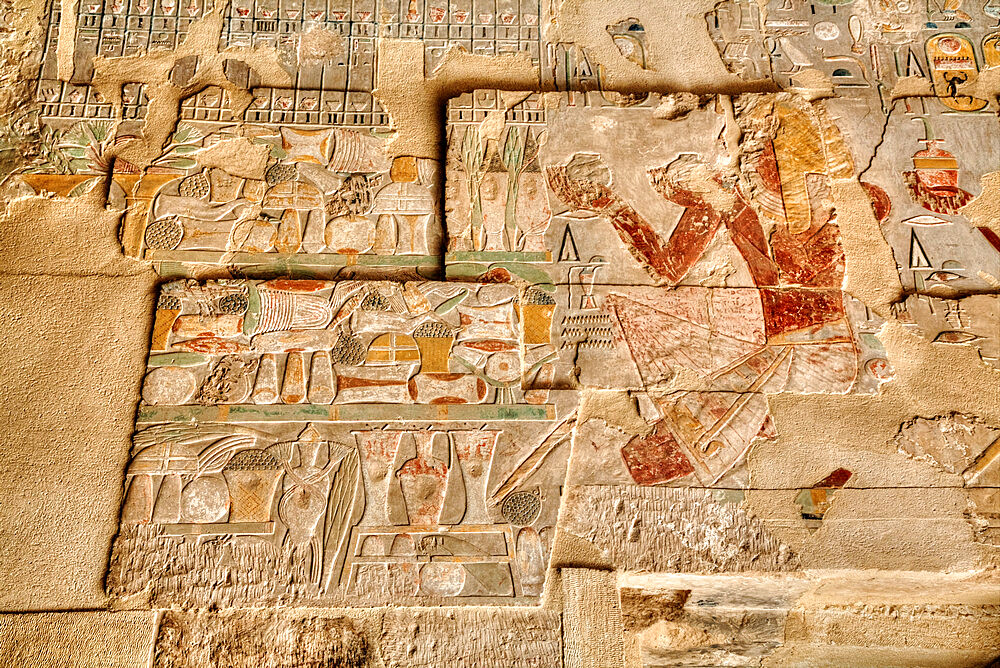 Reliefs, Sanctuary of Amun-Re, Hatshepsut Mortuary Temple (Deir el-Bahri), UNESCO World Heritage Site, Luxor, Thebes, Egypt, North Africa, Africa