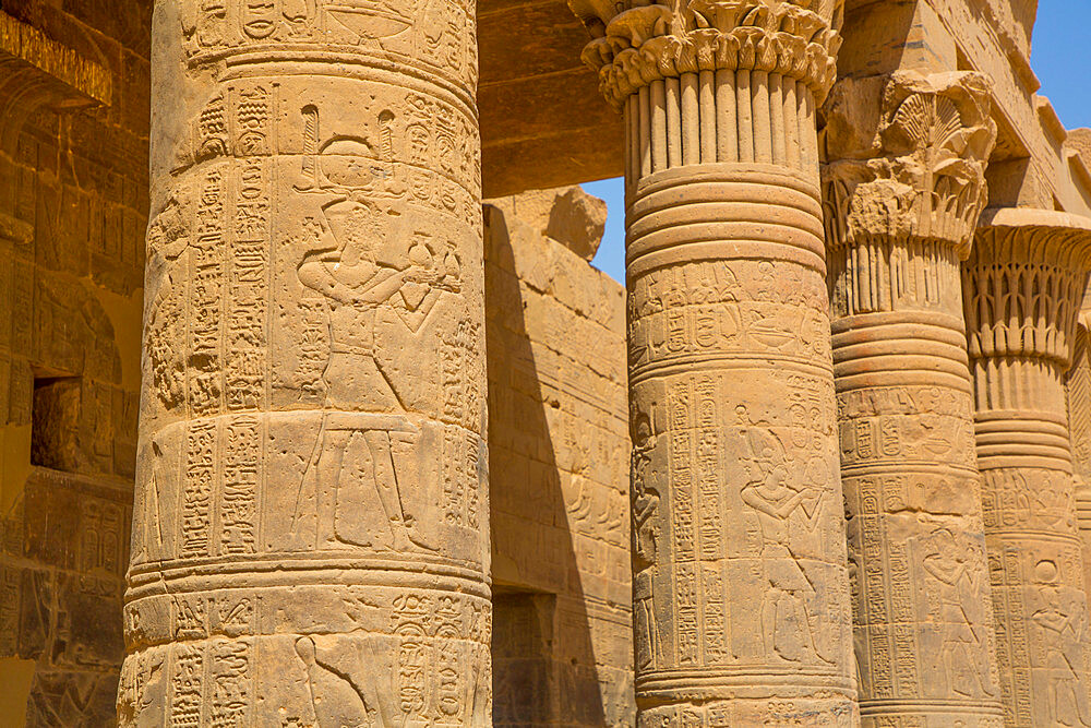 West Colonnade, Temple of Isis, UNESCO World Heritage Site, Philae Island, Aswan, Nubia, Egypt, North Africa, Africa