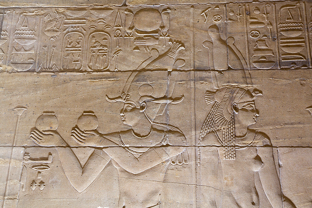 Reliefs in the Sanctuary, Temple of Isis, UNESCO World Heritage Site, Philae Island, Aswan, Nubia, Egypt, North Africa, Africa