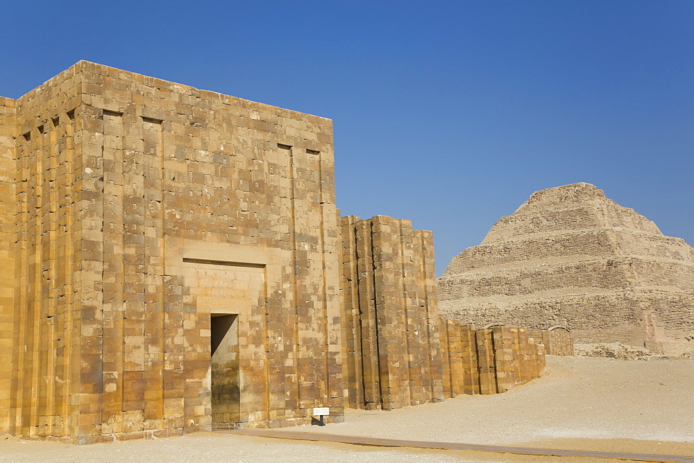 Entrance and Outer Wall, Step Pyramid Complex, UNESCO World Heritage Site, Saqqara, Egypt, North Africa, Africa