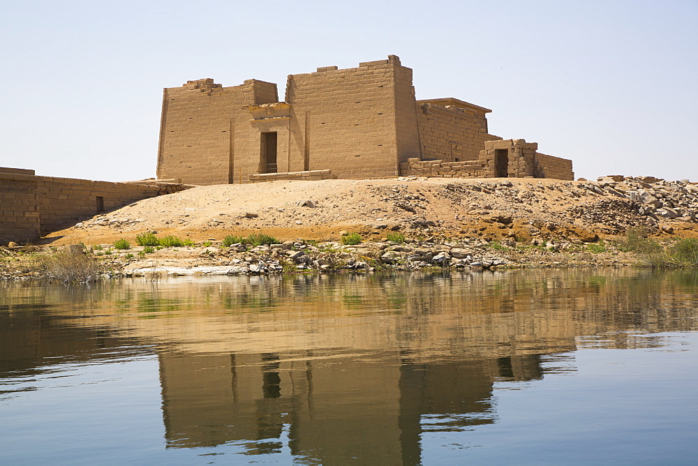Water Reflection, Temple of Mandulis, Kalabsha, UNESCO World Heritage Site, near Aswan, Nubia, Egypt, North Africa, Africa