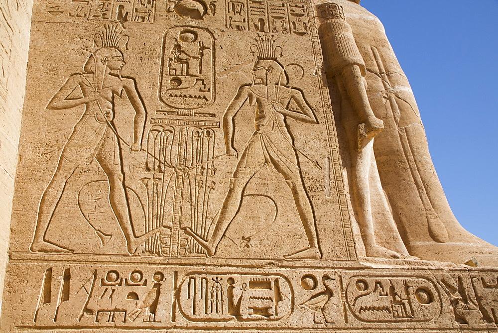 Sunken Relief, Ramses II Temple, UNESCO World Heritage Site, Abu Simbel, Nubia, Egypt, North Africa, Africa