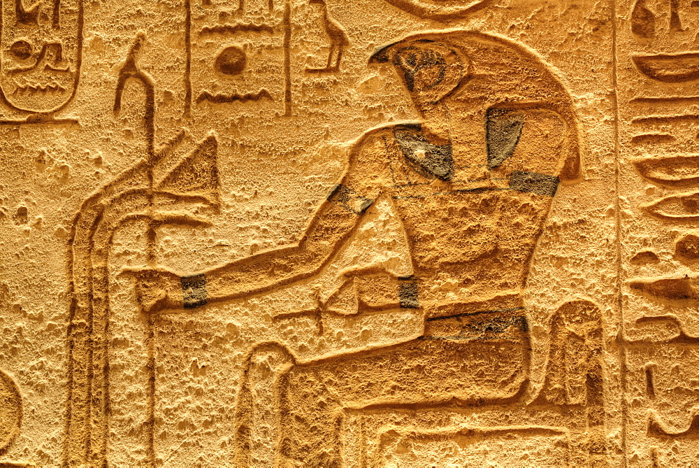 God Horus, Sunken Relief, Lateral Chamber, Ramses II Temple, UNESCO World Heritage Site, Abu Simbel, Nubia, Egypt, North Africa, Africa