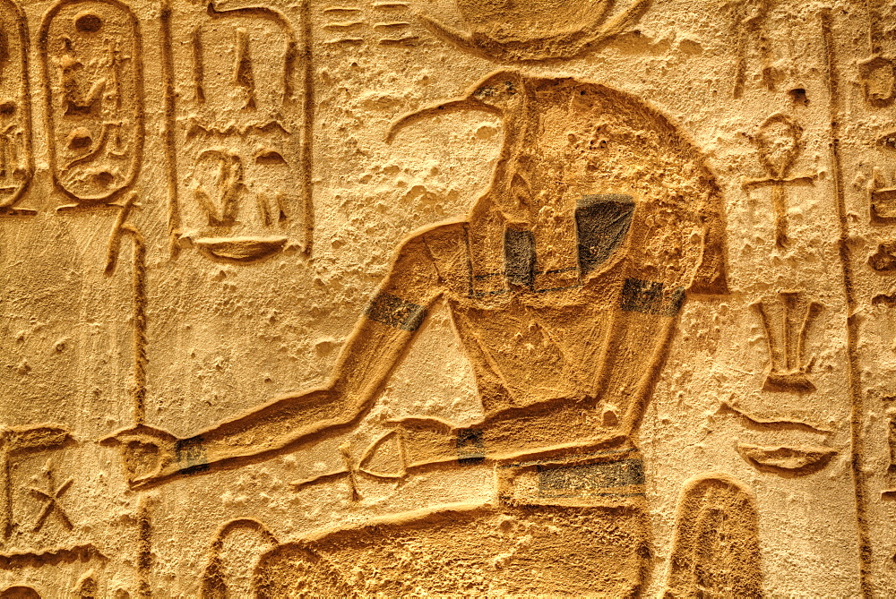 God Thoth, Sunken Relief, Lateral Chamber, Ramses II Temple, UNESCO World Heritage Site, Abu Simbel, Nubia, Egypt, North Africa, Africa