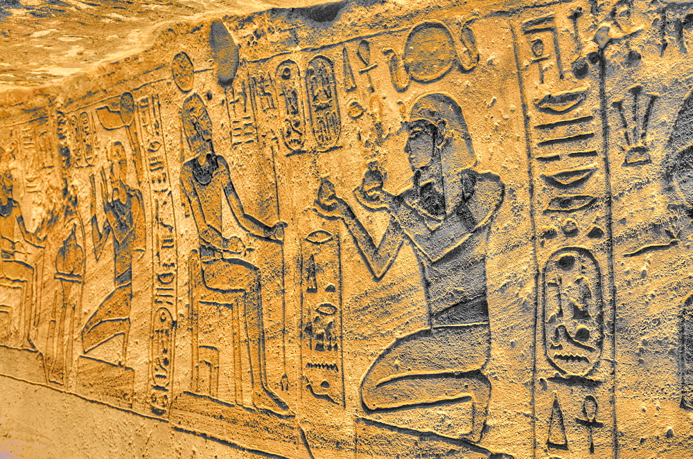 Sunken Relief, Lateral Chamber, Ramses II Temple, UNESCO World Heritage Site, Abu Simbel, Nubia, Egypt, North Africa, Africa
