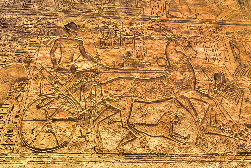Ramses II in Chariot, Sunken Relief, Hypostyle Hall, Ramses II Temple, UNESCO World Heritage Site, Abu Simbel, Nubia, Egypt, North Africa, Africa