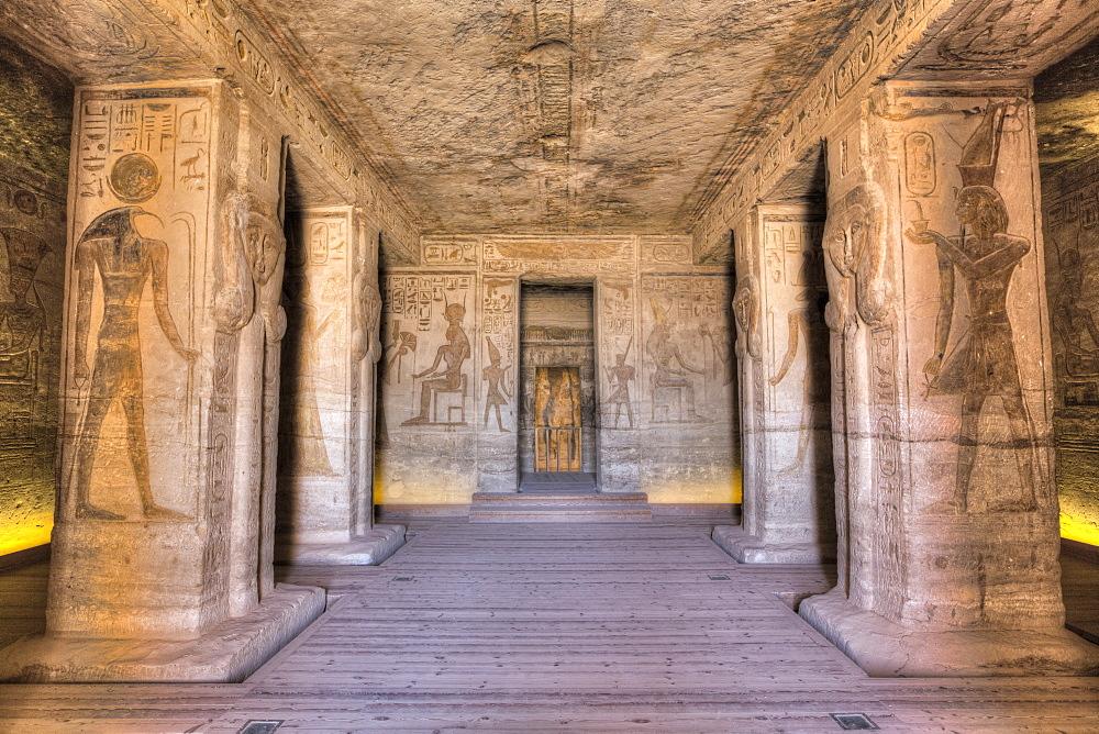 Hypostyle Hall, Temple of Hathor and Nefertari, UNESCO World Heritage Site, Abu Simbel, Nubia, Egypt, North Africa, Africa