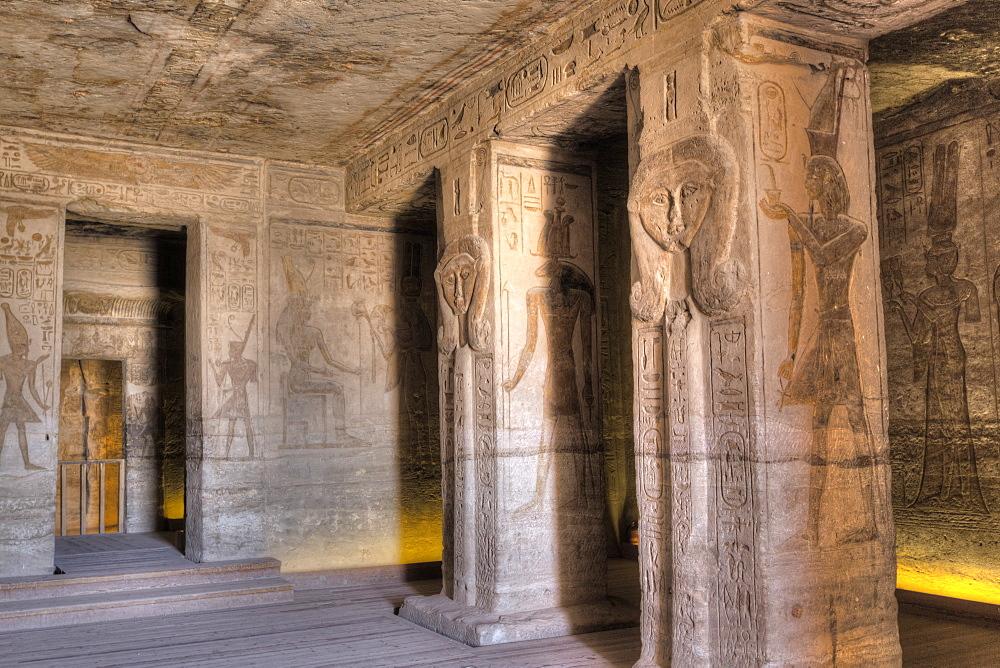 Square Pillars, Goddess Hathor head, Temple of Hathor and Nefertari, UNESCO World Heritage Site, Abu Simbel, Nubia, Egypt, North Africa, Africa