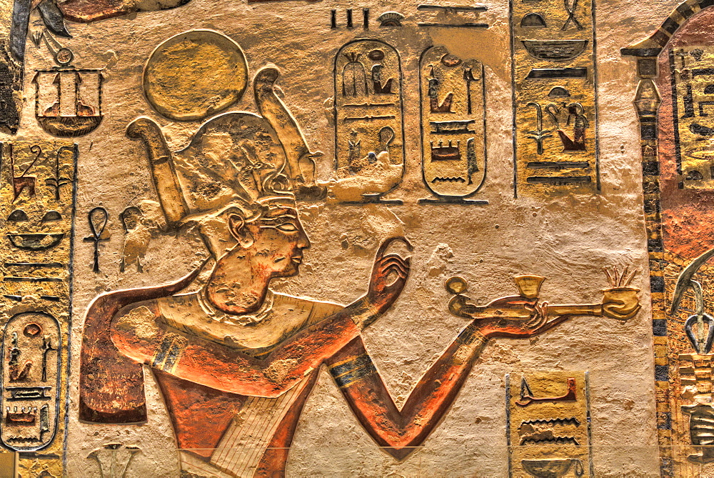 Relief of the Pharaoh, Tomb of Ramses III, KV11, Valley of the Kings, UNESCO World Heritage Site, Luxor, Thebes, Egypt, North Africa, Africa