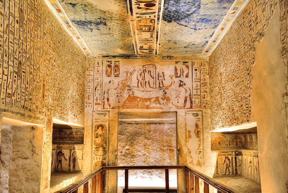 Reliefs and Murals, Tomb of Ramses IV, KV2, Valley of the Kings, UNESCO World Heritage Site, Luxor, Thebes, Egypt, North Africa, Africa